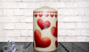 Decoupage Tutorial - Valentine candle with rice paper