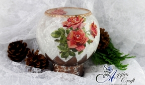 Decoupage Tutorial - Glss Candle Holder with Rice Paper - DIY Tutorial