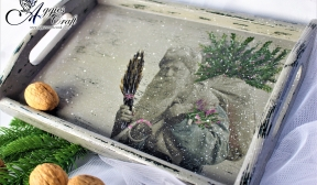 Wooden Tray with Father Christmas