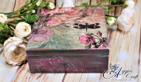 Wooden Box with Pink Roses